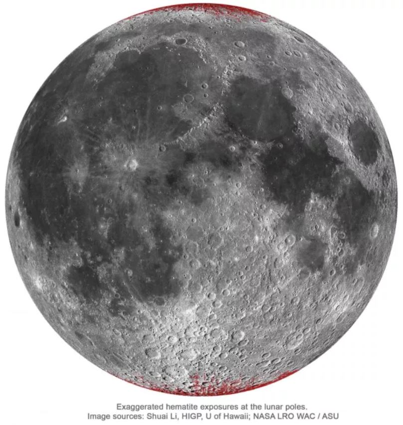 La Luna se está oxidando y se está volviendo ligeramente roja
