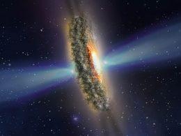 Enormes rayos oscuros salen de un agujero negro y son observados por el Hubble