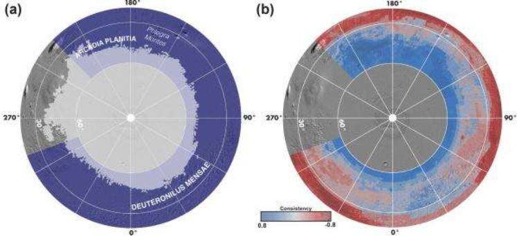 Existe mucha agua helada bajo la superficie de Marte, según nuevo mapa
