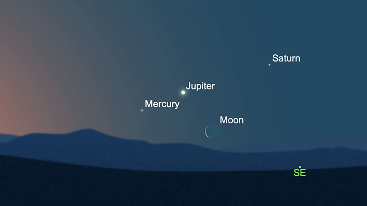 Mira a Mercurio junto a Júpiter en el cielo (¡Saturno y la Luna también!)