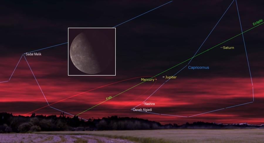 Mercurio, Júpiter, Saturno y la Luna juntos en el cielo