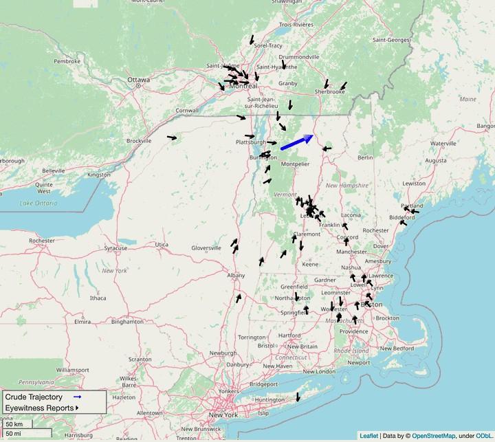 Trayectoria del meteoro que explotó sobre Vermont.