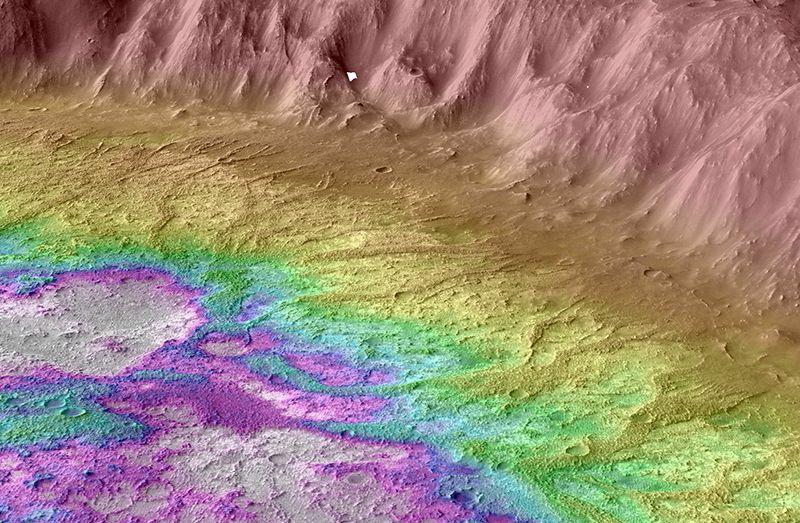 Un mapa topográfico en color de las cuencas marcianas de las tierras altas del sur del estudio de la Universidad de Brown. Las crestas elevadas son de color amarillo oscuro y las áreas bajas donde se acumula el agua son de color blanco