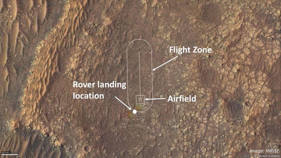Esta imagen muestra dónde el equipo de helicópteros Ingenuity Mars de la NASA intentará sus vuelos de prueba