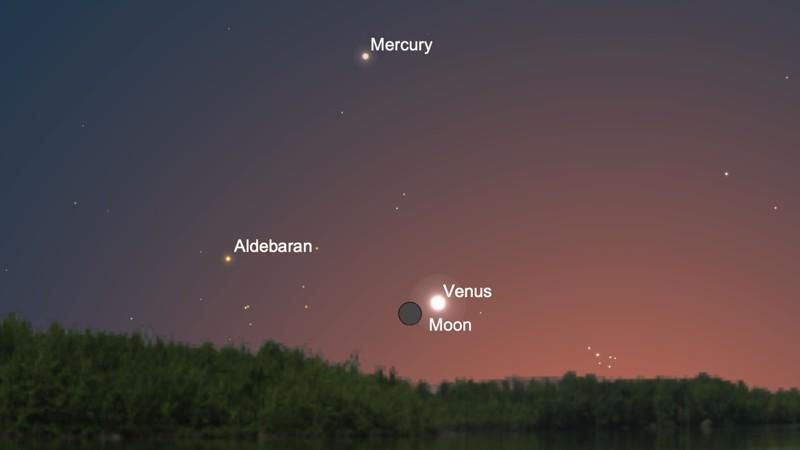 La luna de un día estará en conjunción con Venus el 12 de mayo de 2021