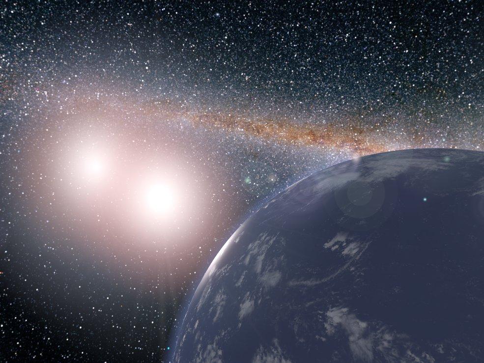 Representación artística del hipotético planeta cubierto de agua alrededor del sistema estelar binario de Kepler-35A y B