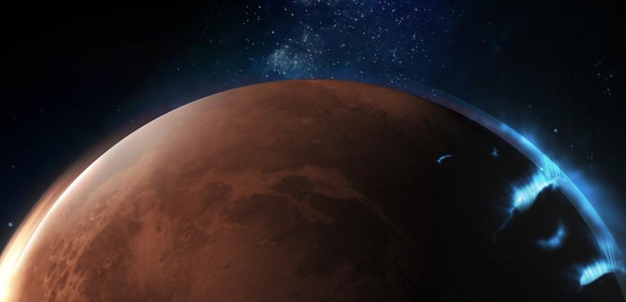 Representación artística de auroras discretas en Marte, que ocurren no solo en los polos sino en todo el planeta