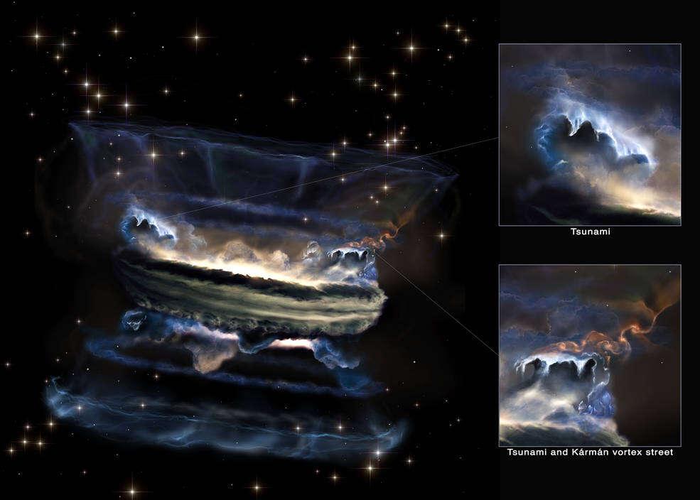Impresión artística de las estructuras de gas que se pueden formar alrededor de un agujero negro supermasivo