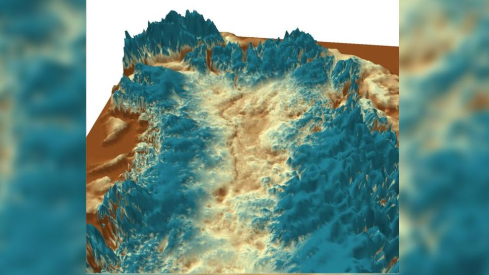 Vista 3D del cañón subglacial en Groenlandia