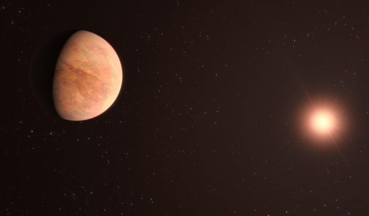 La impresión de este artista muestra L 98-59b, uno de los planetas del sistema L 98-59 a 35 años luz de distancia
