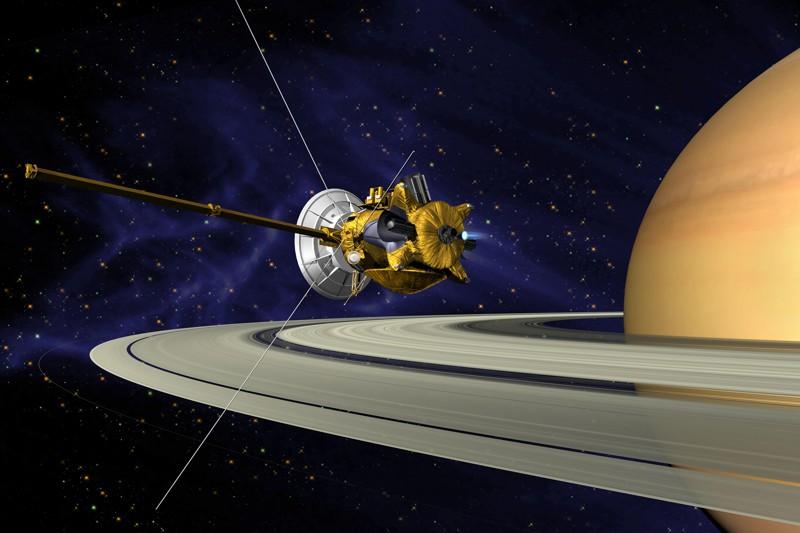 Representación de Saturno y la sonda Cassini
